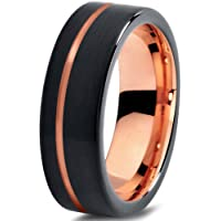 Tungsten Wedding Band Ring 7mm for Men Women Black Rose Yellow Gold Plated Flat Cut Offset Line Brushed Polished