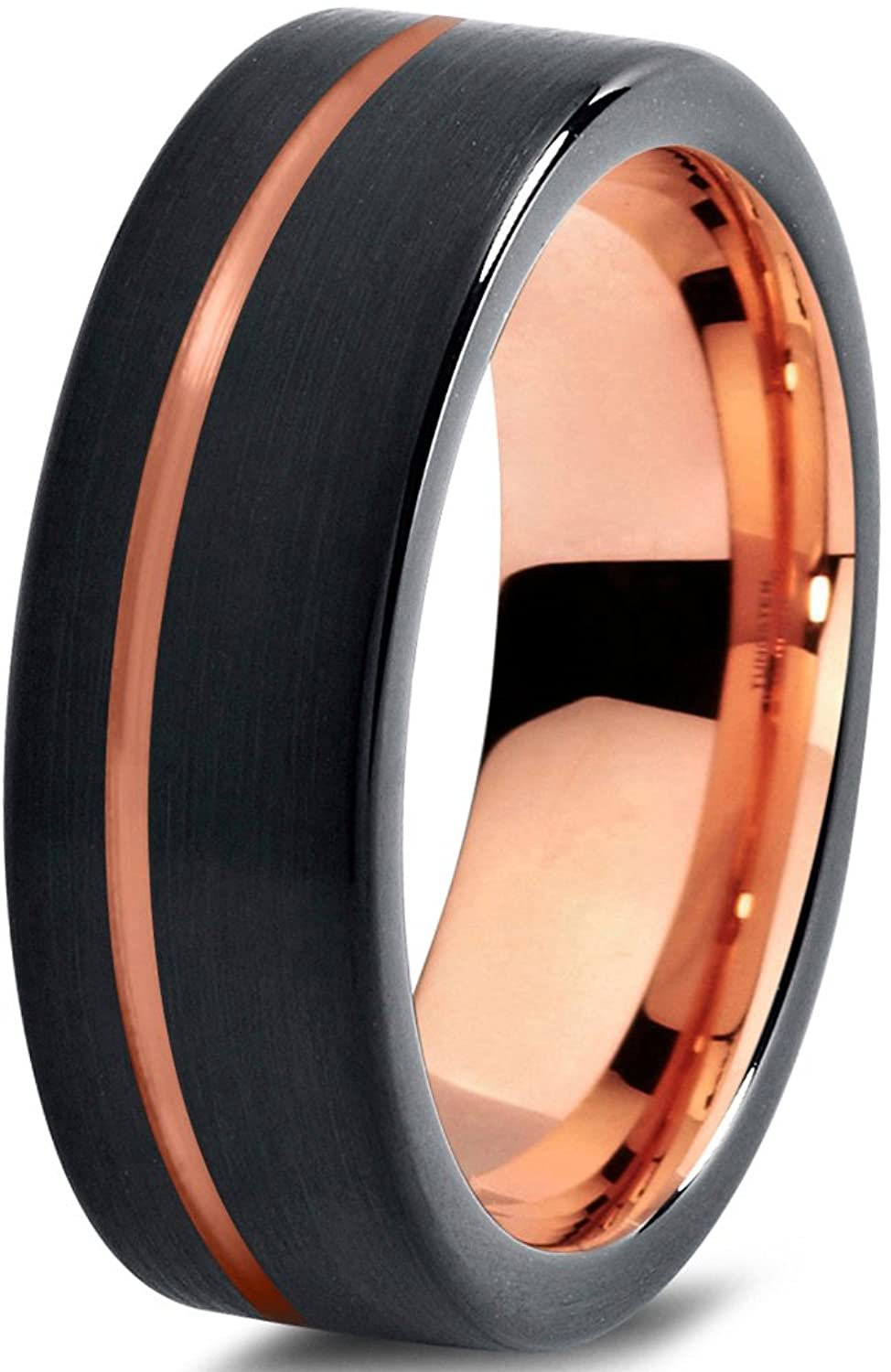 Tungsten Wedding Band Ring 7mm for Men Women Black & 18K Rose Gold Plated Pipe Cut Brushed Polished