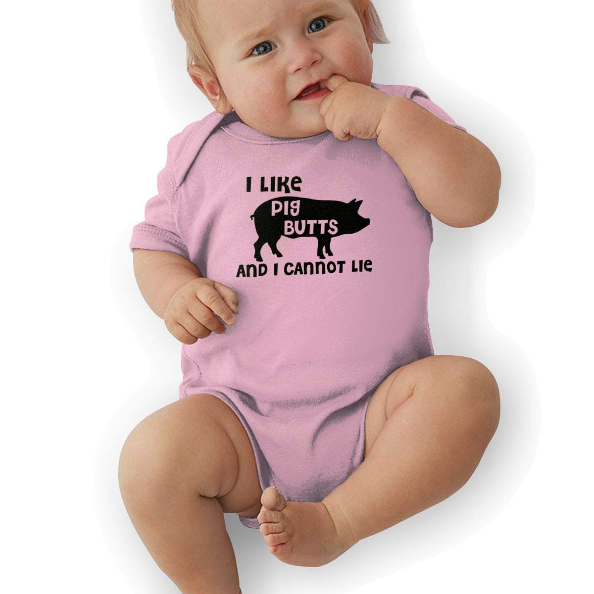 Newborn Baby Boys Bodysuit Short-Sleeve Onesie I Love Pig Butts and I Can Not Lie Bacon Print Jumpsuit Summer Pajamas