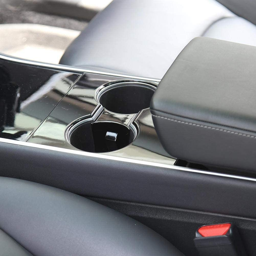 Black Cyberjotting Cup Holder Limiter Insert For Tesla Model 3 And Tesla Model Y 2017-2020 Accessories Water Cup Slot Stabilizer Clip For Tesla Model 3 Cupholder
