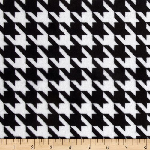 E.Z Fabric Minky Houndstooth Fabric by The Yard, Black/White