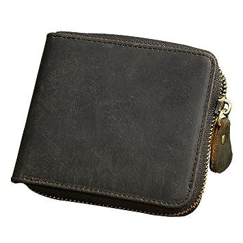 Men/'s BiFold Wallet Black-Brown Genuine Cowhide Leather