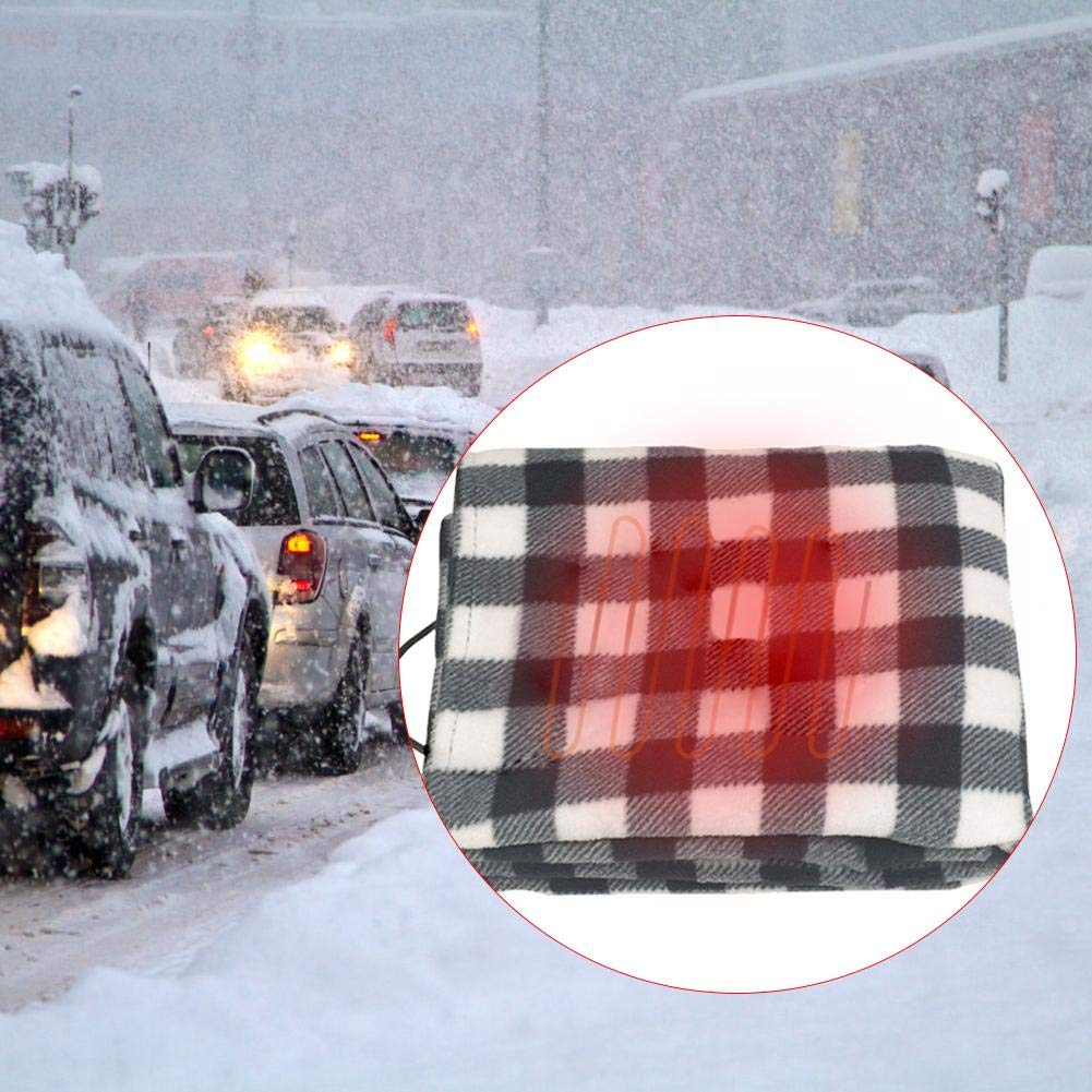 Large Size for Winter Traveling or Emergencies 12V Car Electric Heating Blanket High Low Gear Adjustment Energy Saving Safe and Fast Heating Fleece Material Overvoltage Protection