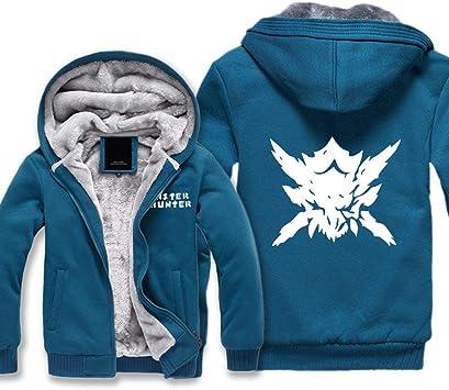 メンズパーカーのフルジッパー印刷ゲームモンスターハンターベルベット太いフード付きセーターコートウールパーカー、冬に適して