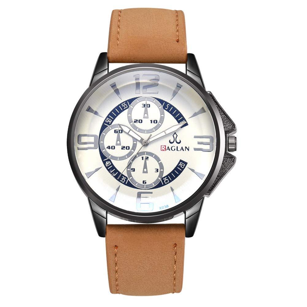 Longra Relojes Simples de Negocios para Hombres, Reloj de Cuero Reloj de Pulsera BLU Ray Glass: Amazon.es: Deportes y aire libre