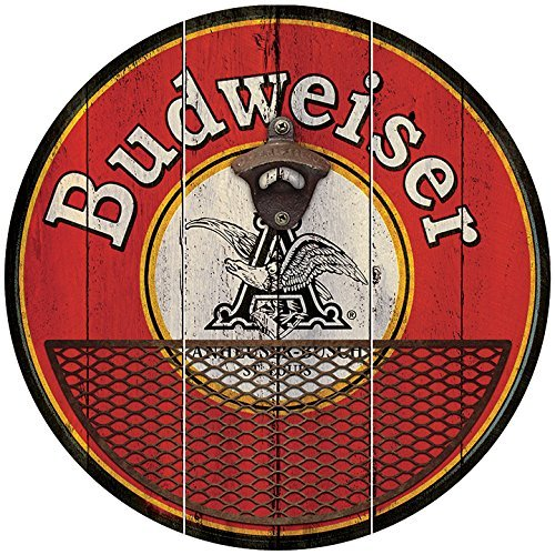 Budweiser Beer Wall Mounted Bottle Opener With Cap Catcher, Anheuser-Busch Logo, Rustic And Distressed Cast Iron Bottle Opener, Wire Metal Basket To Catch (Logo Wall Mounted Bottle Opener)