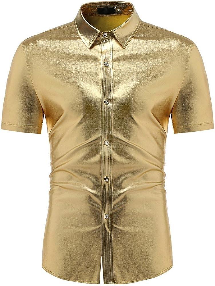 XuanhaFU Camiseta Hombre de Verano, de Camisa de Solapa de Manga Corta Oro Brillante Puro (Oro, S): Amazon.es: Ropa y accesorios