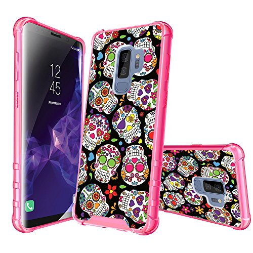 (MINITURTLE Case Compatible with Samsung Galaxy S9 Plus [Pink Bumper Case] Protective Case w/Reinforced Pink PC Bumper + Transparent TPU Clear Back & Design - Black Pink Sugar Skulls)