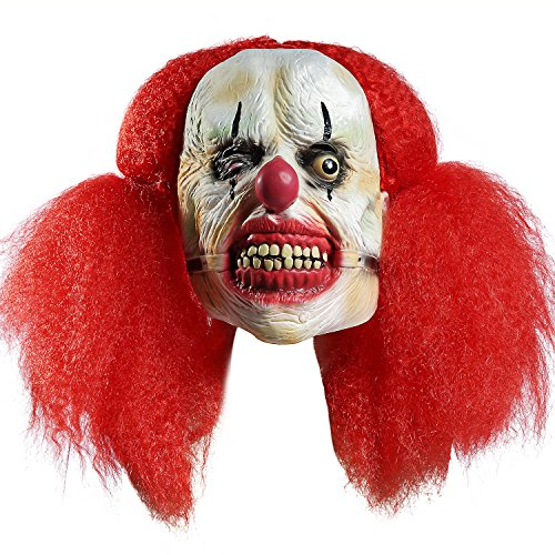 Halloween Zombie Head mask Scary Death Red Hair Evil Prop Clown Bloody Masks]()