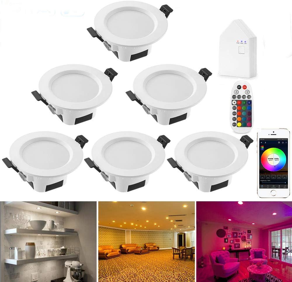 BAGZY 6 Pack LED Spots Encastrable 770LM Downlight 6000K Blanc Froid 7W 230V Rond Spot de plafond Spot Encastr/é Lamp pour Salon Cuisine Couloir Galerie Magasin Blanc