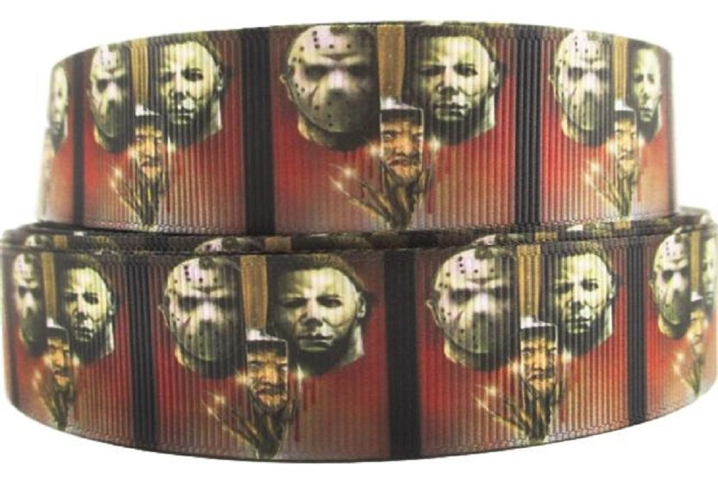 """Horror Movie Characters Halloween Grid 1/"""" Wide Repeat Ribbon Sold in Yard Lots"""