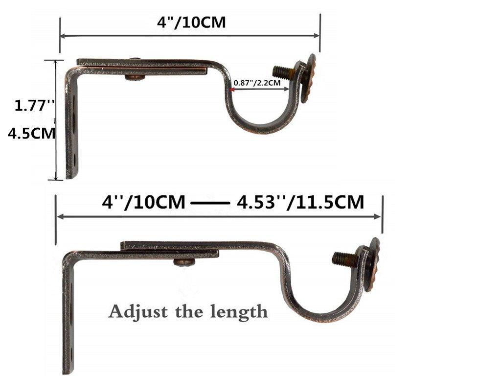 Alikeke Adjustable Curtain Rod Wall Bracket, Set of 4, Red Bronze, Premium Steel Drapery Rod Bracket for Walls, Curtain Rod Holder