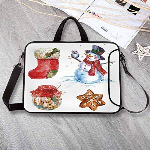 Nfl Snowman Stocking - Christmas Custom Neoprene Laptop Bag,Watercolor Xmas Icons Snowman with Owl Sock Gingerbread Cookie Decorative Laptop Bag for Men Women Students,17.3