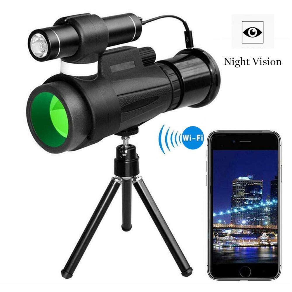 TRISJEM High Power Prism Monocular Telescope with Night Vision Zoom, 12x50 High Powered Monocular with WiFi and APP Function, Infrared Night Vision Monocular for Outdoor Trip, Camping Night Watching by TRISJEM