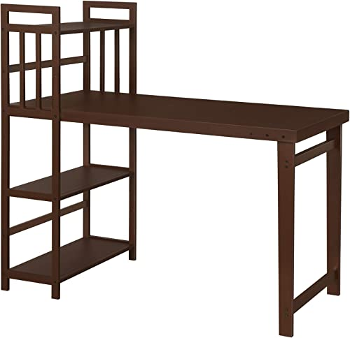 VASAGLE Computer Desk with Storage Shelf, Writing Desk, Study Desk Workstation for Home Office Living Room Gaming, Solid Wood, Simple Style, Brown UOLD01BR