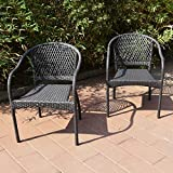 Joveco Rattan Wicker Outdoor Backyard Bistro Patio Dining Chair Set - Set of Two
