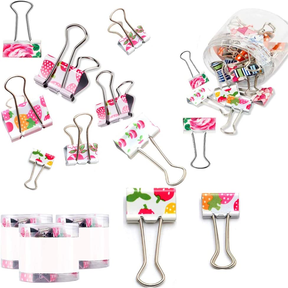 24 Pieces Colorful Binder Clips Paper Clamps 2 Sizes Cute Printing Metal Fold Back Clip Designer Binder Clips with Box for Office, School and Home Supplies, 0.75 Inch and 1 Inch (19mm)