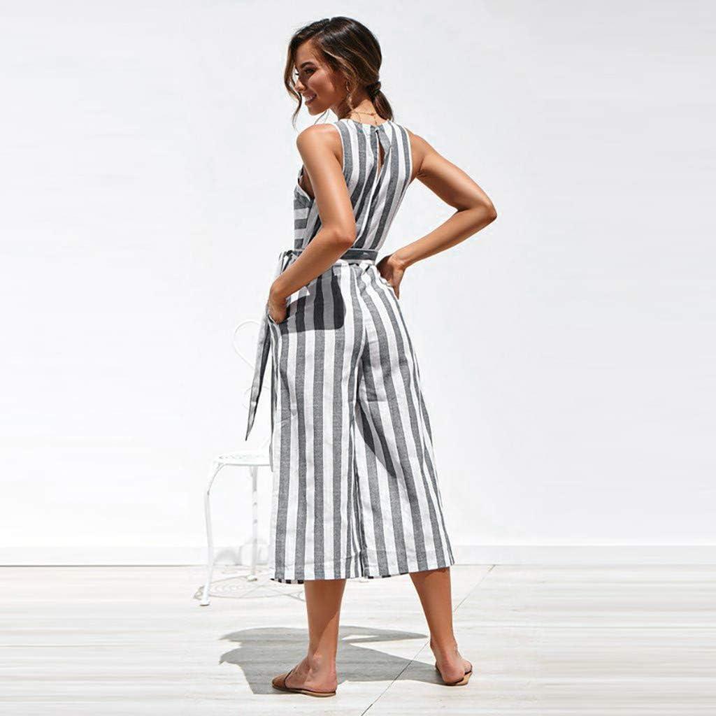 YFancy Fashion Women Beach Rompers Sleeveless Stripe Belt Bandage O-Neck Lace Up Long Wide Leg Jumpsuit Playsuit