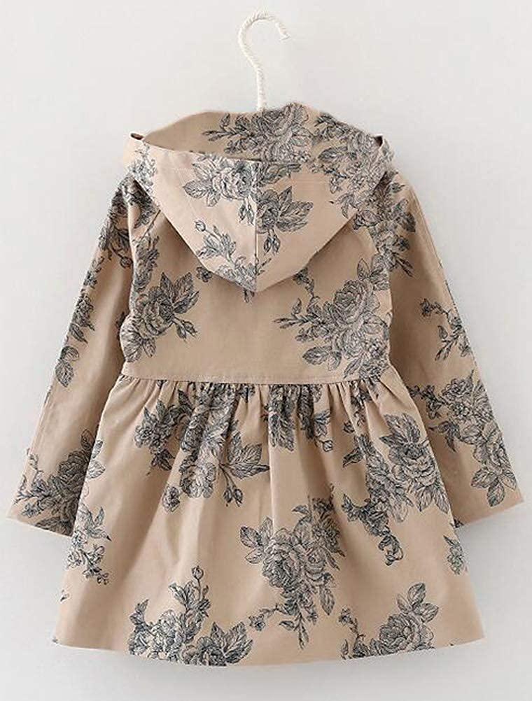 competitive price bddcd b2e8d Mallimoda Girl's Hooded Trench Coat Jacket Dress Windbreaker Outwear