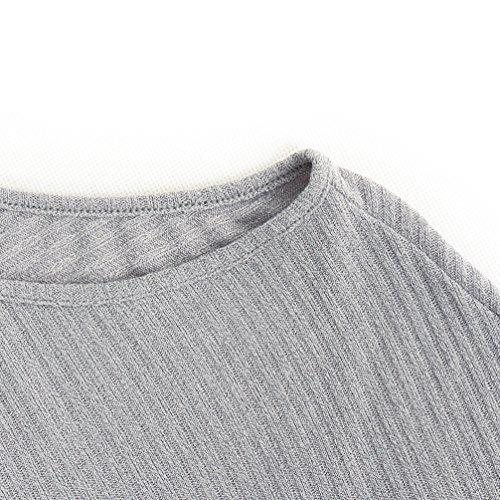 A Tops Jumper Donna Bluse Elegante Pipistrello Casuale Sweatshirt Maglione Maglietta shirt Freestyle Felpa Maglie T Pullover Lunga Manica Allentato Grigio Spalline Senza TCwqv4PA