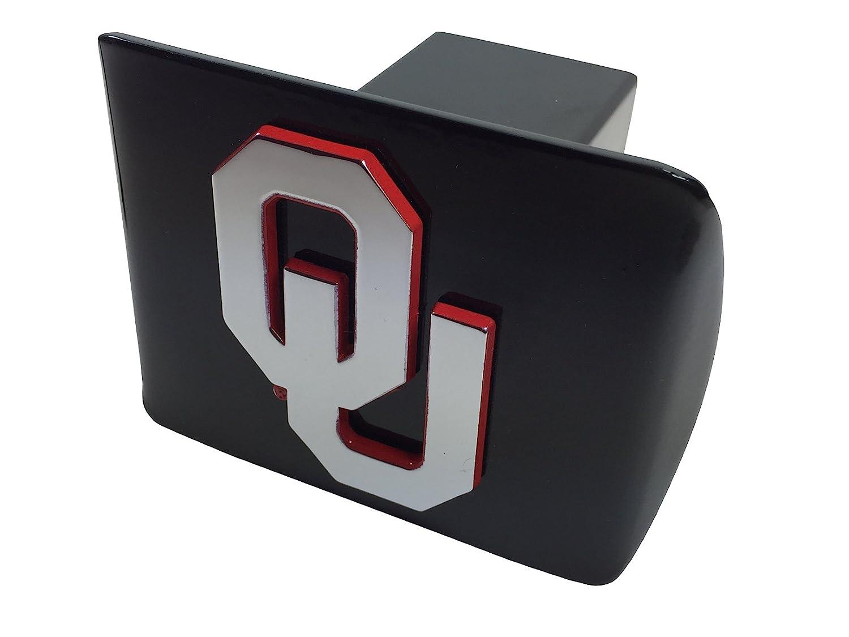 University of Oklahoma METAL emblem on black METAL Hitch Cover AMG chrome with crimson trim