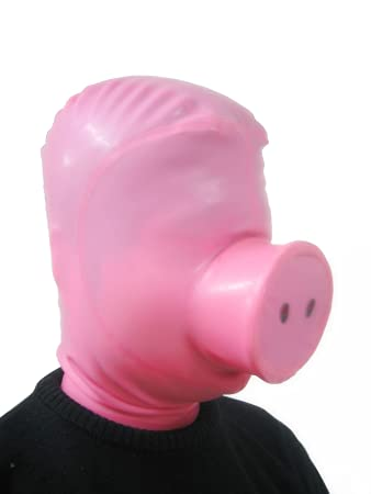 Amazon com: AngelDis latex costume latex hood pigsy mask light pink