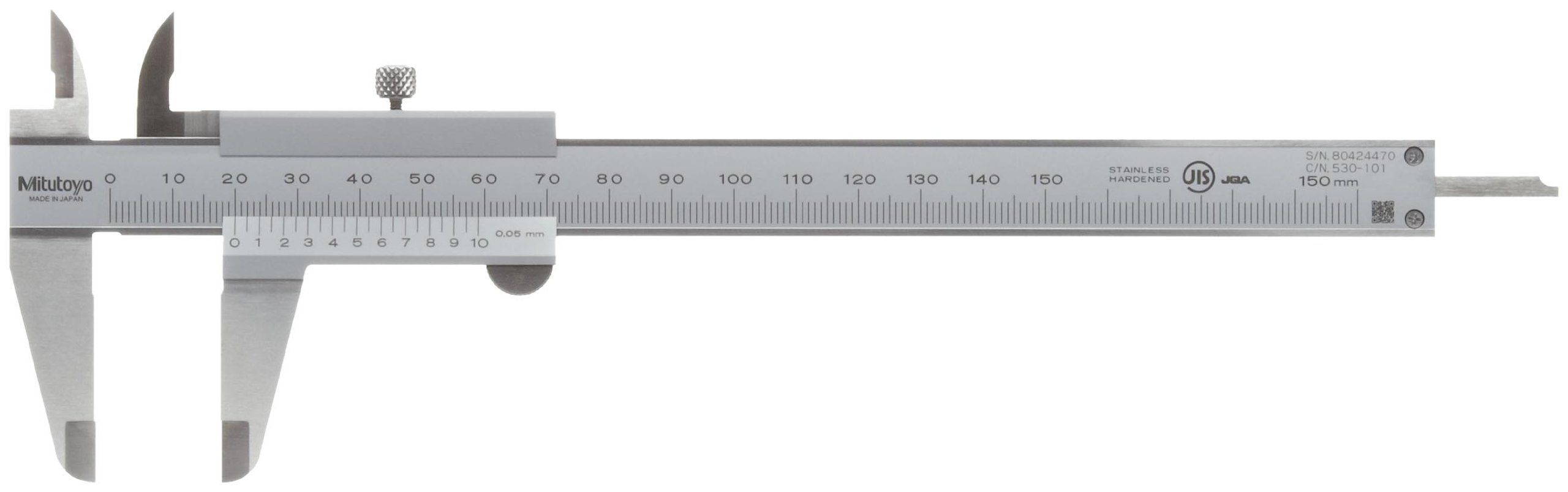 Mitutoyo 530-101 Vernier Calipers, Stainless Steel, for Inside, Outside, Depth and Step Measurements, Metric, 0''/0mm-150mm Range, +/-0.05mm Accuracy, 0.05mm Resolution, 40mm Jaw Depth
