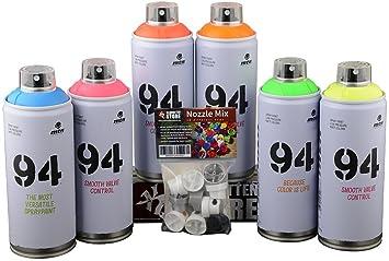 Bombolette Spray Per Murales.Le Bombolette Spray Mtn Graffiti Neon Fluor Distributrici Di 6 X 400 Ml