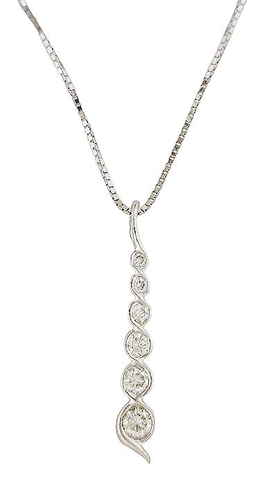 Amazon womens graduated linear journey pendant necklace 14k womens graduated linear journey pendant necklace 14k white gold 18 cttw aloadofball Images