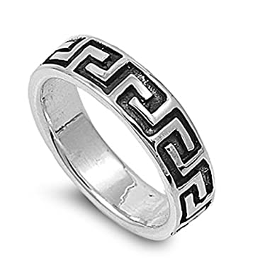 Sterling Silver Greek Style Ring Size12 Amazon Com