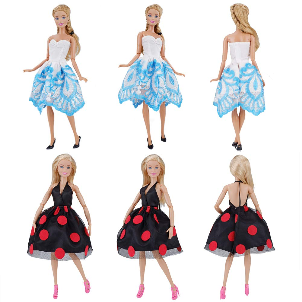 E-TING Lot 15 Items = 5 Sets Fashion Casual Wear Clothes Outfit Party Dress with 10 Pair Shoes for Girl Doll