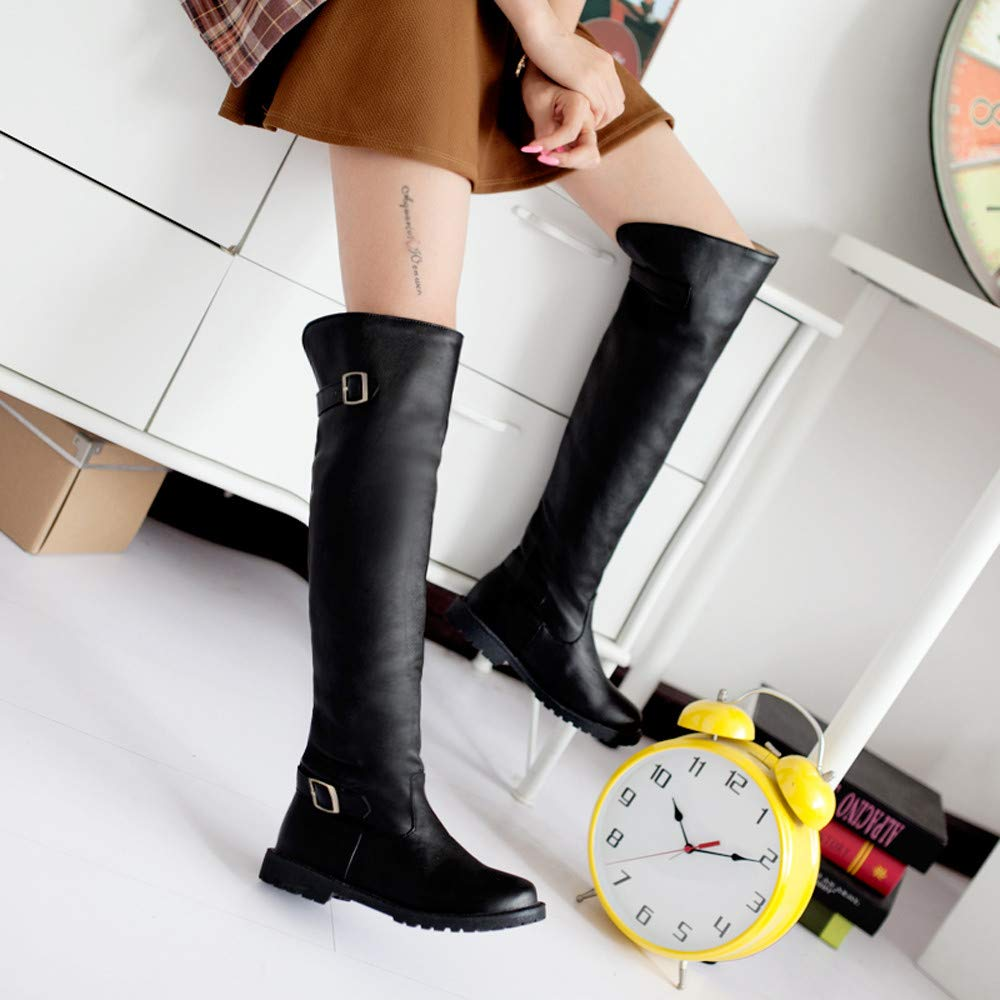 DENER❤ Women Ladies Long Boots with Heels, Leather Waterproof Over The Knee Wide Calf Winter Boots Booties Shoes at Amazon Womens Clothing store: