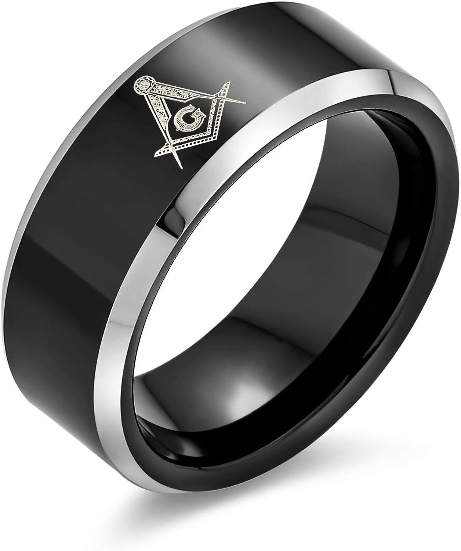 Bling Jewelry Grabado con Láser Cuadrado & Francmasón Brújula Masónica Banda Negra Anillo De Tungsteno para Los Hombres 8Mm