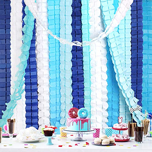 RUBFAC 15pcs Blue Four-Leaf Clover Paper Garland Party Streamers Tissue Hanging Garland for Party Decoration