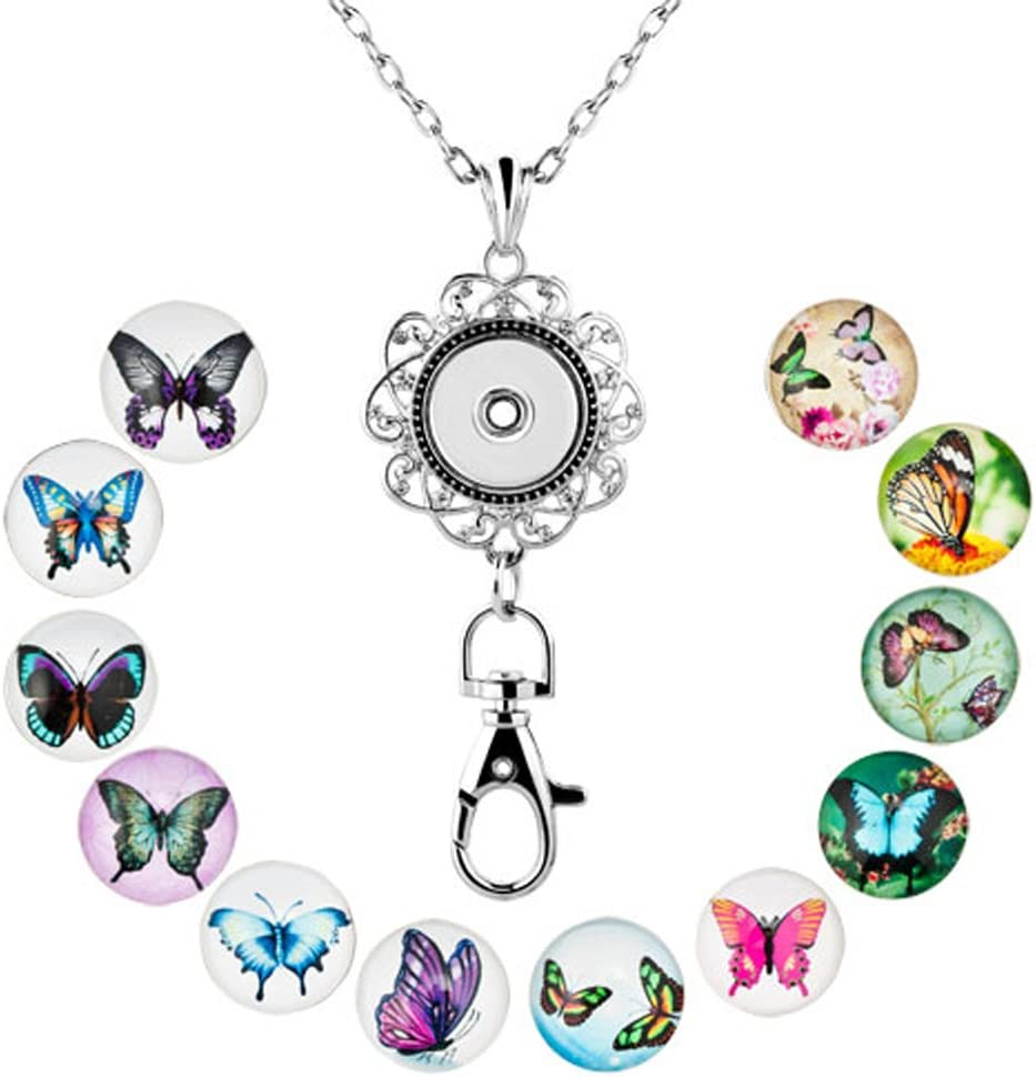 ShinyJewelry Office Lanyard Necklace Clip Badge ID Holder Pendant With 12pcs Snap Charm Butterfly