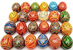 Easter Painted Eggs Wooden Ukrainian Pysanky Pysanka, Set...