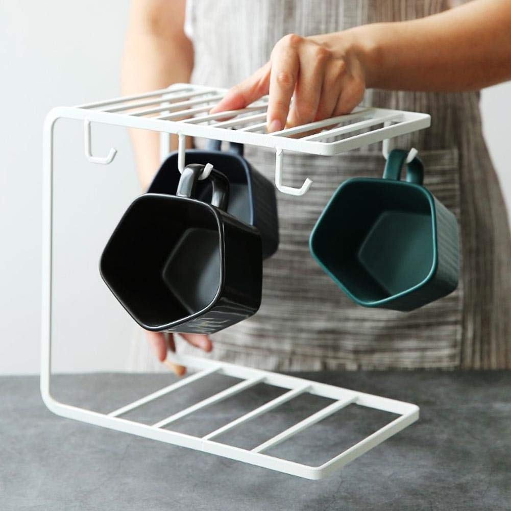 blue--net Stylish Mug Holder Organizer Stand with 6 Hooks, Metal Coffee Cup Rack Stand Kitchen Storage Rack Cupboard Hanging Hook Mug Cooker Cutlery Storage Holder for Kitchen Counter