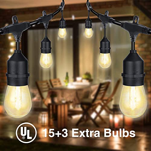 Delxo 48FT LED Outdoor Light String Commercial Heavy Duty Windproof and Rainproof