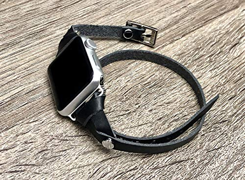(Black Genuine Leather Band for Apple Watch Series 4 3 2 1 38mm 40mm Aluminum & Stainless Steel Case Double Tour iWatch Women Bracelet Adjustable Watchband 5.5-6.5 inches Size)