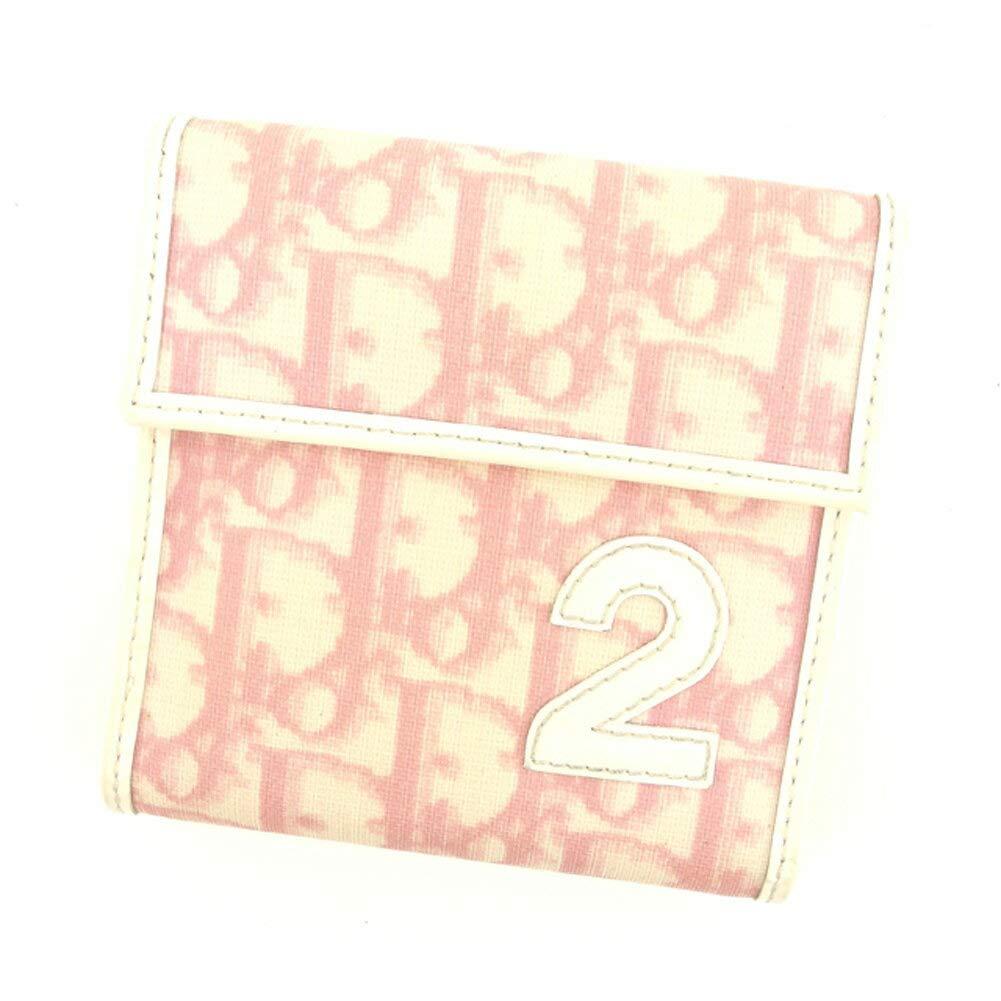 (ディオール) Christian Dior 三つ折り 財布 ピンク ベージュ ホワイト 白 トロッター レディース 中古 T8053   B07HMLHTVR