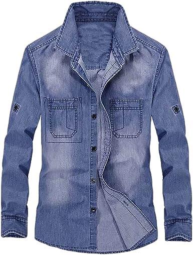 Baymate Camisa De Mezclilla Mangas Larga para Hombre Talla ...