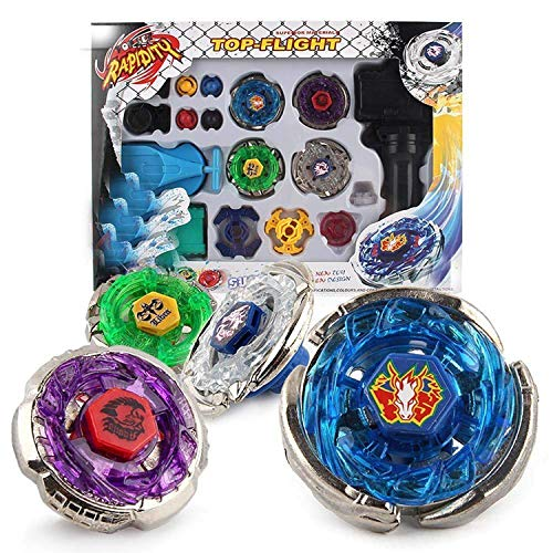 Metal Master Fusion Storm Pegasus/Flame Libra/Earth Eagle/ Lightning L-Drago with Launcher Grip Gyro top Flight Set