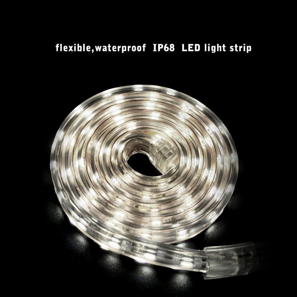 ... SMD 5050 Blanco frío 6000K, 230V IP68 Tiras de Led Iluminación Impermeable para el hogar, Decoración del jardín Iluminación de la Tira de la luz .