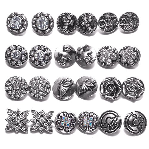 Soleebee 24pcs Alloy Rhinestones 12mm Same Color Snap Buttons Jewelry Charms DIY Accessories (Silver)