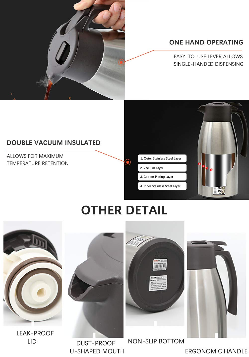 Premium Double Walled Vacuum Thermos Flask for Juice//Milk//Tea LIVINGbasics/™ 12 Hour Heat Retention Silver 1.5L Stainless Steel Thermal Coffee Carafe
