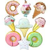 "20"" Ice Cream Doughnut Food Balloon Star Balloon Mylar Balloons Foil Balloon for Hawaii Luau Birthday Baby Shower Party Decor"