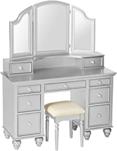 Furniture of America Athy Silver Vanity with Stool