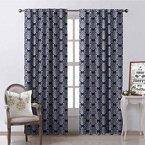 - Gloria Johnson Navy Blue Wear-Resistant Color Curtain Abstract Floral Damask with Antique Victorian Design Renaissance Flourish Waterproof Fabric W52 x L54 Inch Dark Blue Bayberry