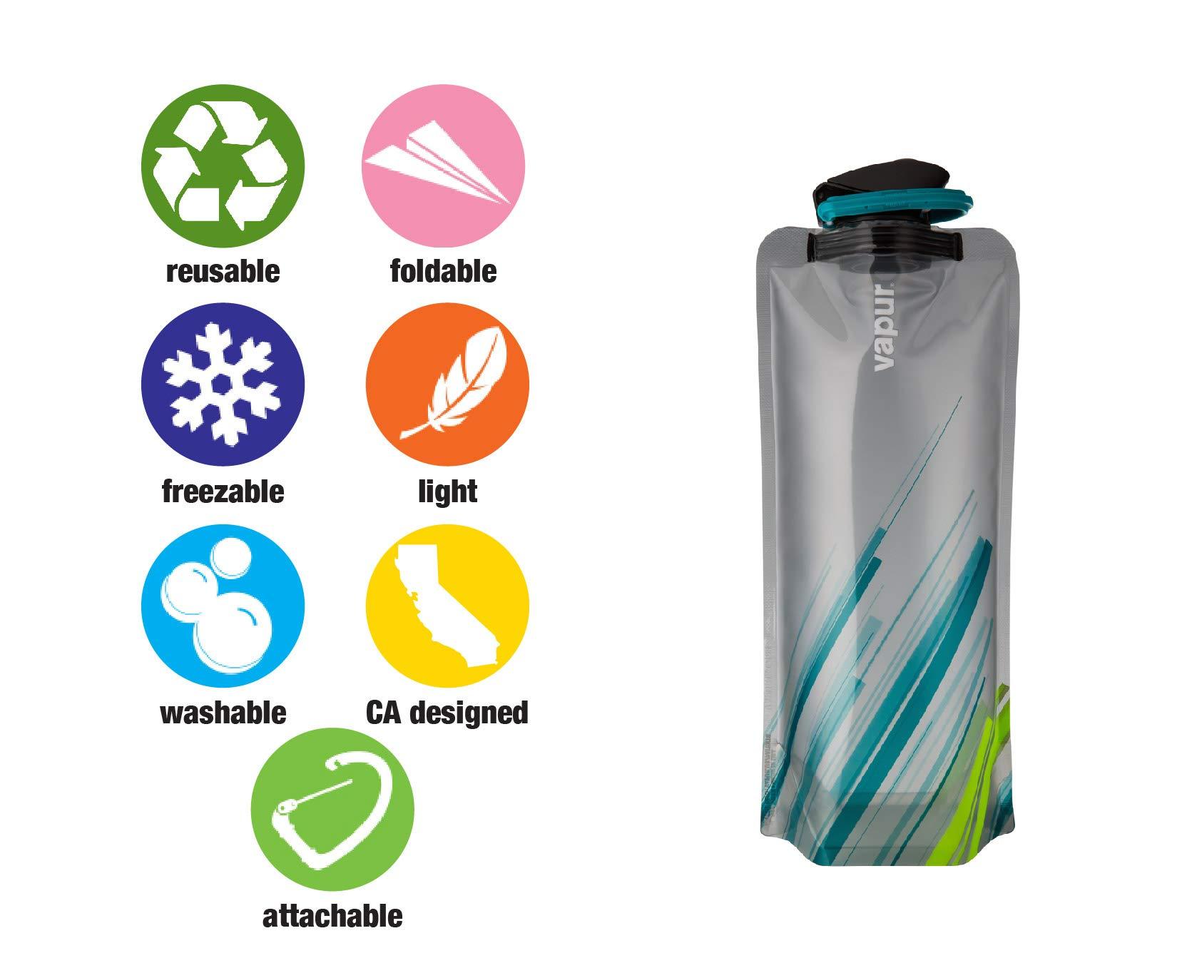 Vapur - Element 1.0L BPA Free Foldable Flexible Water Bottle w/Carabiner (Grey/Teal) by Vapur (Image #7)