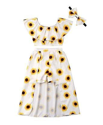 5edb28c0427b 3PCs Toddler Kid Girl Sunflower Print Off Shouder Crop Top + Pant Skirt +  Bowknot Headband